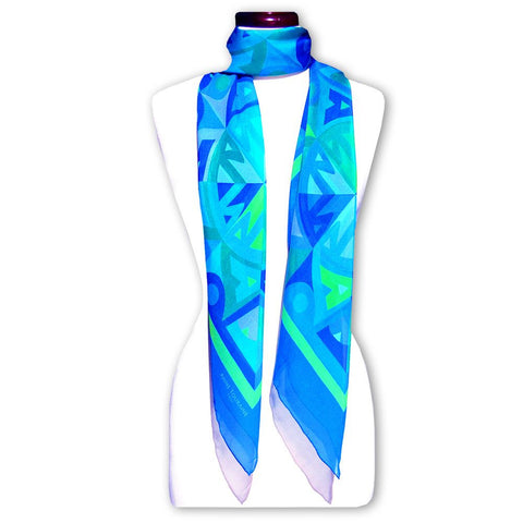 Extra large and lightweight chiffon silk scarf, blue and green color, by ANNE TOURAINE Paris™