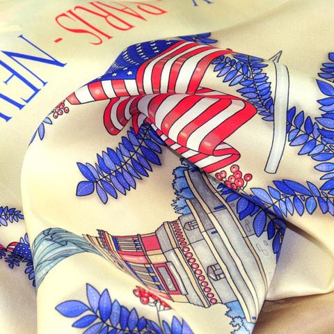 FRENCH SILK SCARF - PARIS NEW YORK - Beige - 36x36""