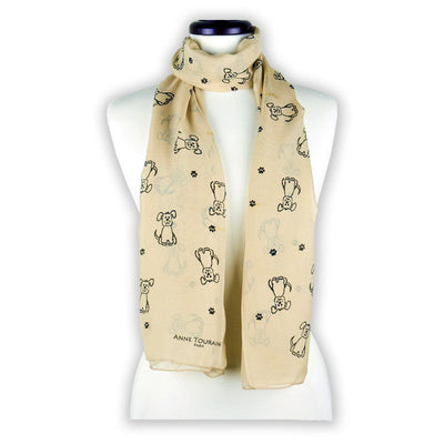 BEIGE DOG PATTERN SCARF - 67x26""