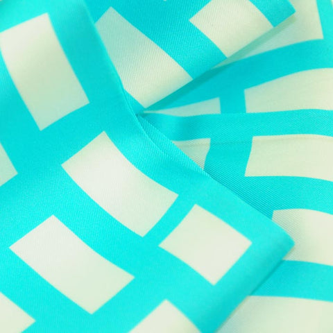 Silk twillies: turquoise blue and white silk twilly by ANNE TOURAINE Paris™