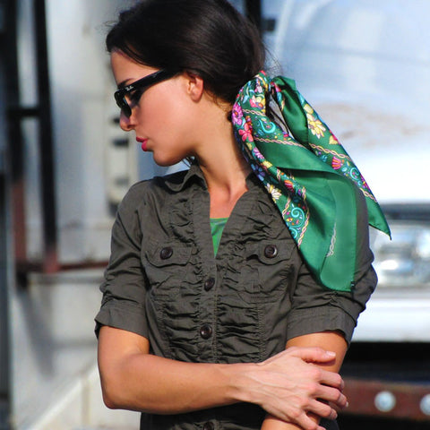 Green floral silk scarf made in France by ANNE TOURAINE Paris™ scarves tied in the hair