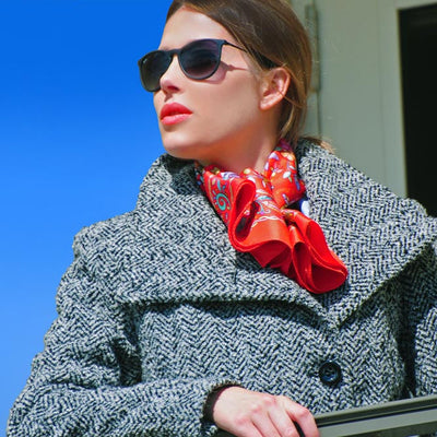 Red Floral scarf, 100% silk twill, made in France by ANNE TOURAINE Paris™ scarves tied as a large silk belt