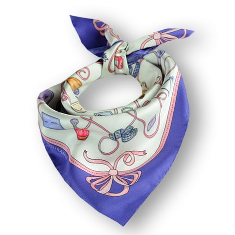 "White and violet blue silk twill scarf made in France. Size 27x27"". Hand rolled hem. Theme: fashion accessories. Scarf by ANNE TOURAINE Paris™ (1)"