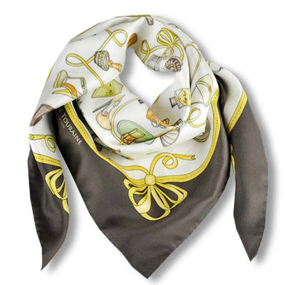 "Brown and white silk twill scarf made in France. Size 36X36"". Hand rolled hem. Theme: fashion accessories. Scarf by ANNE TOURAINE Paris™ (1)"
