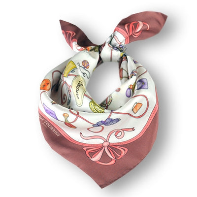 "White and deep red silk twill scarf made in France. Size 27x27"". Hand rolled hem. Theme: fashion accessories. Scarf by ANNE TOURAINE Paris™ (1)"