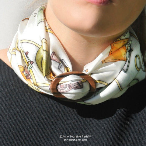 Exotic wood handcrafted scarf ring. Large size. A fun, essential, and versatile complementary to your ANNE TOURAINE Paris™ silk scarves. (3)