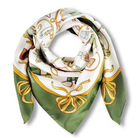 "Green and white silk twill scarf made in France. Size 36X36"". Hand rolled hem. Theme: fashion accessories. Scarf by ANNE TOURAINE Paris™ (1)"