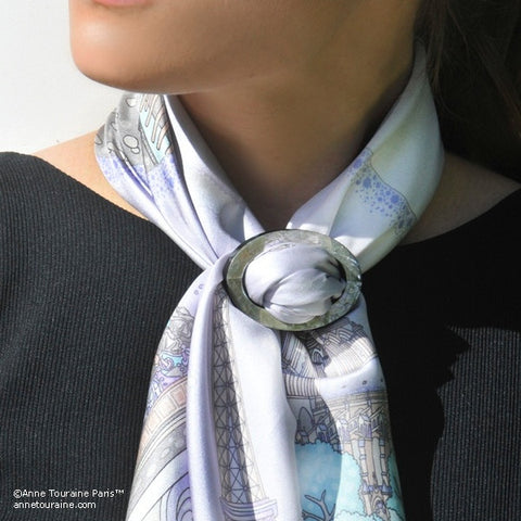 Abalone shell handcrafted scarf ring. Large size. A fun, essential, and versatile complementary to your ANNE TOURAINE Paris™ silk scarves. (2)