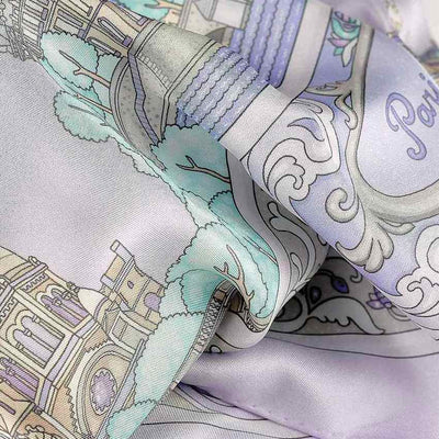 "Lavender blue silk twill scarf made in France. Size 36x36"". Hand rolled hem.Theme: Paris monuments. Scarf by ANNE TOURAINE Paris™ (6)"