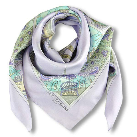 "Lavender blue silk twill scarf made in France. Size 36x36"". Hand rolled hem.Theme: Paris monuments. Scarf by ANNE TOURAINE Paris™ (1)"