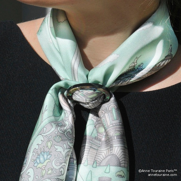 Paua shell handcrafted scarf ring. Medium size. A fun, essential, and versatile complementary to your ANNE TOURAINE Paris™ silk scarves. (1)