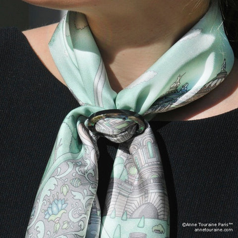 Paua shell handcrafted scarf ring. Medium size. A fun, essential, and versatile complementary to your ANNE TOURAINE Paris™ silk scarves. (2)