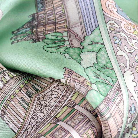 "Pastel green silk twill scarf made in France. Size 27x27"". Hand rolled hem.Theme: Paris monuments. Scarf by ANNE TOURAINE Paris™ (6)"