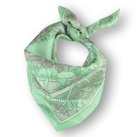 "Pastel green silk twill scarf made in France. Size 27x27"". Hand rolled hem.Theme: Paris monuments. Scarf by ANNE TOURAINE Paris™ (1)"