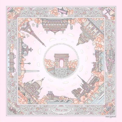 "Pastel pink silk twill scarf made in France. Size 27x27"". Hand rolled hem.Theme: Paris monuments. Scarf by ANNE TOURAINE Paris™ (2)"