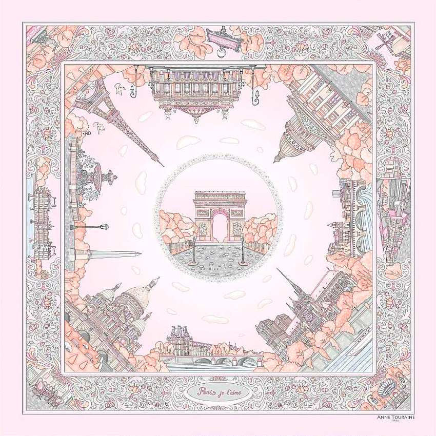 "Pastel pink silk twill scarf made in France. Size 27x27"". Hand rolled hem.Theme: Paris monuments. Scarf by ANNE TOURAINE Paris™ (1)"