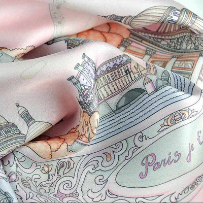 "Pastel pink silk twill scarf made in France. Size 27x27"". Hand rolled hem.Theme: Paris monuments. Scarf by ANNE TOURAINE Paris™ (6)"