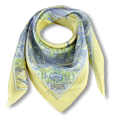 "Pastel yellow silk twill scarf made in France. Size 36x36"". Hand rolled hem.Theme: Paris monuments. Scarf by ANNE TOURAINE Paris™ (1)"