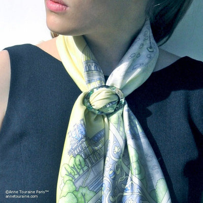 Paua shell handcrafted scarf ring. Large size. A fun, essential, and versatile complementary to your ANNE TOURAINE Paris™ silk scarves. (2)