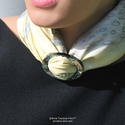 Paua shell handcrafted scarf ring. Large size. A fun, essential, and versatile complementary to your ANNE TOURAINE Paris™ silk scarves. (3)