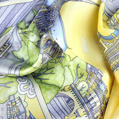 "Pastel yellow silk twill scarf made in France. Size 36x36"". Hand rolled hem.Theme: Paris monuments. Scarf by ANNE TOURAINE Paris™ (6)"