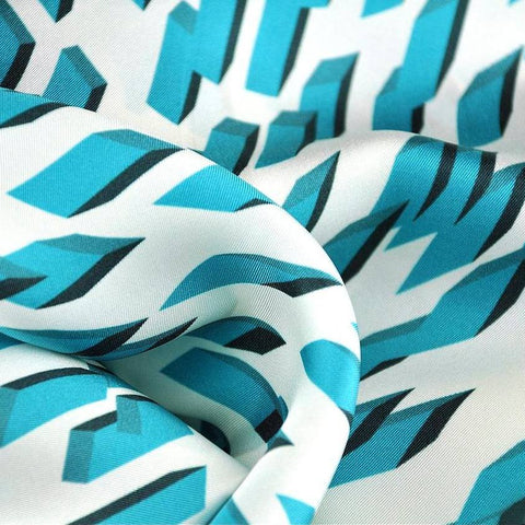 "Teal and white silk twill scarf with geometrical design. Made in France. Size 27x27"". Hand rolled hem. Scarf by ANNE TOURAINE Paris™ (6)"