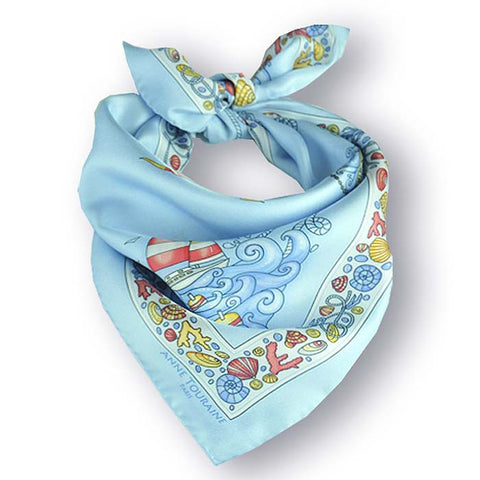 "Light blue silk twill scarf made in France. Size 27x27"". Hand rolled hem. Nautical theme. Scarf by ANNE TOURAINE Paris™ (1)"