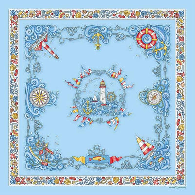 "Light blue silk twill scarf made in France. Size 27x27"". Hand rolled hem. Nautical theme. Scarf by ANNE TOURAINE Paris™ (2)"