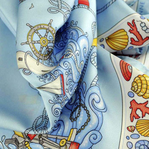 "Light blue silk twill scarf made in France. Size 27x27"". Hand rolled hem. Nautical theme. Scarf by ANNE TOURAINE Paris™ (6)"