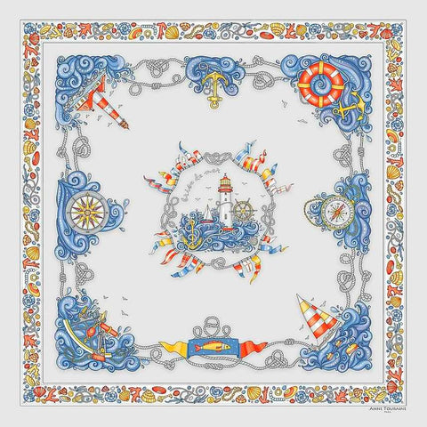 "Light grey silk twill scarf made in France. Size 36x36"". Hand rolled hem. Nautical theme. Scarf by ANNE TOURAINE Paris™ (2)"