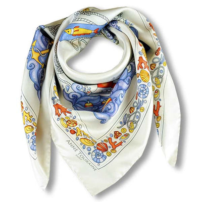 "Light grey silk twill scarf made in France. Size 36x36"". Hand rolled hem. Nautical theme. Scarf by ANNE TOURAINE Paris™ (1)"