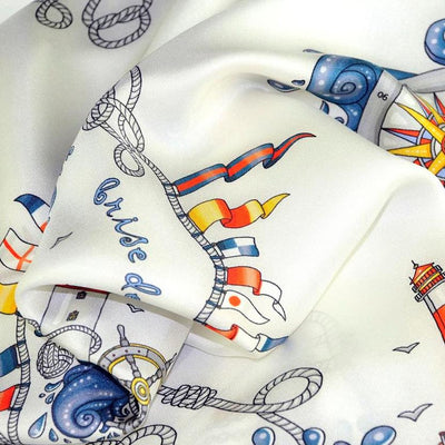 "Light grey silk twill scarf made in France. Size 36x36"". Hand rolled hem. Nautical theme. Scarf by ANNE TOURAINE Paris™ (6)"