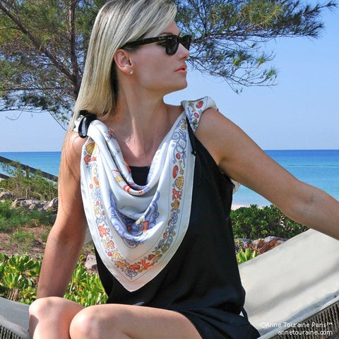 "Light grey silk twill scarf made in France. Size 36x36"". Hand rolled hem. Nautical theme. Scarf by ANNE TOURAINE Paris™ (5)"