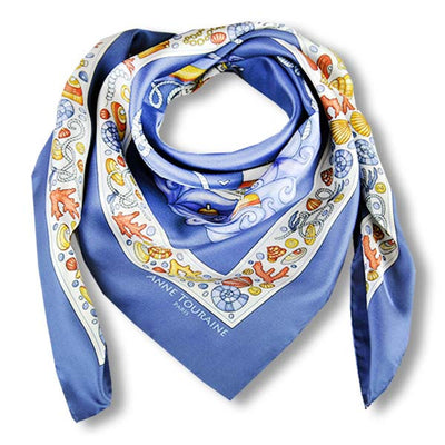 "Ocean blue silk twill scarf made in France. Size 36x36"". Hand rolled hem. Nautical theme. Scarf by ANNE TOURAINE Paris™ (1)"