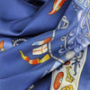 "Ocean blue silk twill scarf made in France. Size 36x36"". Hand rolled hem. Nautical theme. Scarf by ANNE TOURAINE Paris™ (6)"