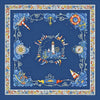 "Ocean blue silk twill scarf made in France. Size 36x36"". Hand rolled hem. Nautical theme. Scarf by ANNE TOURAINE Paris™ (2)"
