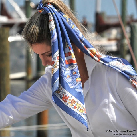"Ocean blue silk twill scarf made in France. Size 36x36"". Hand rolled hem. Nautical theme. Scarf by ANNE TOURAINE Paris™ (3)"