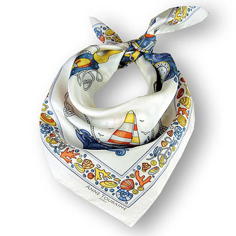 "White silk twill scarf made in France. Size 27x27"". Hand rolled hem. Nautical theme. Scarf by ANNE TOURAINE Paris™ (1)"