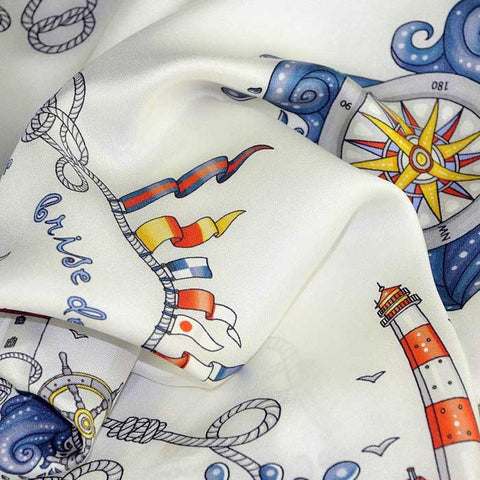 "White silk twill scarf made in France. Size 27x27"". Hand rolled hem. Nautical theme. Scarf by ANNE TOURAINE Paris™ (6)"