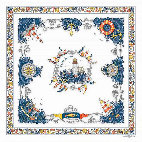 "White silk twill scarf made in France. Size 27x27"". Hand rolled hem. Nautical theme. Scarf by ANNE TOURAINE Paris™ (2)"