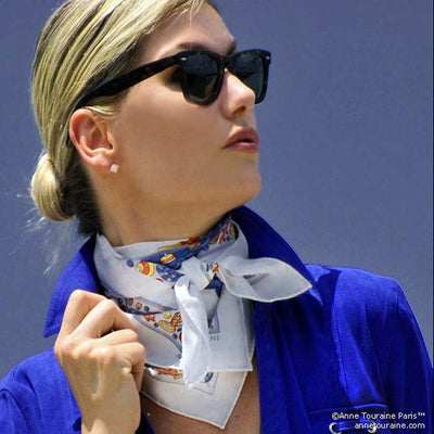 "White silk twill scarf made in France. Size 27x27"". Hand rolled hem. Nautical theme. Scarf by ANNE TOURAINE Paris™ (5)"