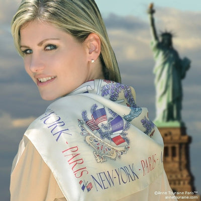 "Beige silk twill scarf made in France. Size 36x36"". Hand rolled hem. Theme: Paris New York. Scarf by ANNE TOURAINE Paris™ (3)"