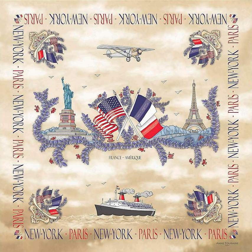 "Beige silk twill scarf made in France. Size 36x36"". Hand rolled hem. Theme: Paris New York. Scarf by ANNE TOURAINE Paris™ (1)"