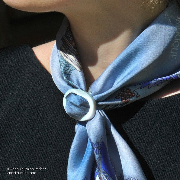 White mother of pearl handcrafted scarf ring. Medium size. A fun, essential, and versatile complementary to your ANNE TOURAINE Paris™ silk scarves. (1)
