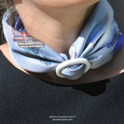 White mother of pearl handcrafted scarf ring. Medium size. A fun, essential, and versatile complementary to your ANNE TOURAINE Paris™ silk scarves. (3)