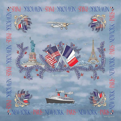 "Blue silk twill scarf made in France. Size 27x27"". Hand rolled hem. Theme: Paris New York. Scarf by ANNE TOURAINE Paris™ (2)"