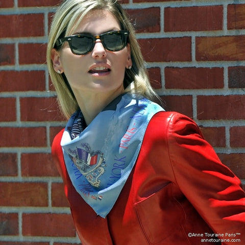 "Blue silk twill scarf made in France. Size 27x27"". Hand rolled hem. Theme: Paris New York. Scarf by ANNE TOURAINE Paris™ (3)"