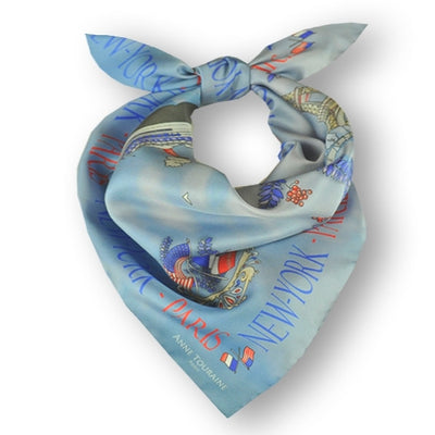"Blue silk twill scarf made in France. Size 27x27"". Hand rolled hem. Theme: Paris New York. Scarf by ANNE TOURAINE Paris™ (1)"
