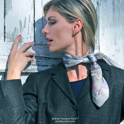 "Grey silk twill scarf made in France. Size 27x27"". Hand rolled hem. Theme: Paris New York. Scarf by ANNE TOURAINE Paris™ (3)"