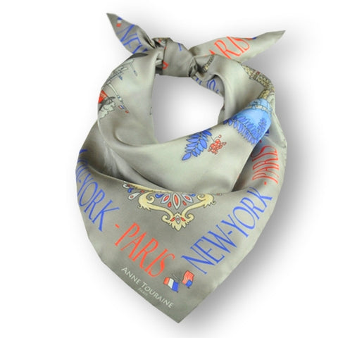"Grey silk twill scarf made in France. Size 27x27"". Hand rolled hem. Theme: Paris New York. Scarf by ANNE TOURAINE Paris™ (1)"